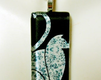 Blue print cat pendant and chain - CGP02-162