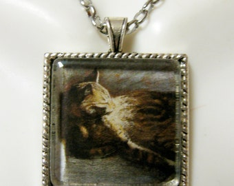 Steinlen cat at rest pendant with chain - CAP05-118
