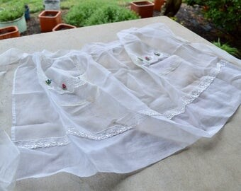 Vintage Sheer White Embroidered Hostess Apron, Shabby Chic