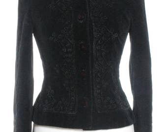 Vintage Black Embroidered Velvet Jacket 8 - www.brickvintage.com