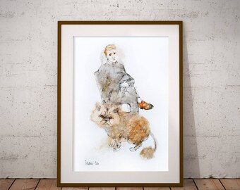 Original Watercolor painting Man with a Cat. Watercolor and Ink Painting. Watercolour Cat Portrait. Watercolor mixed media illustration
