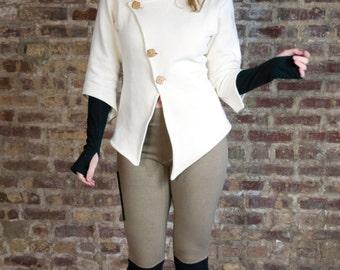 Asymmetrical Fleece Cardigan Sweater with Wooden Buttons - Hemp and Organic Cotton