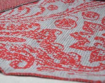 red flowers blanket, Baby Gift ideas, baby afghan, Stroller Blanket, baby wrap, toddler blanket, gray baby blanket, knit handmade blanket