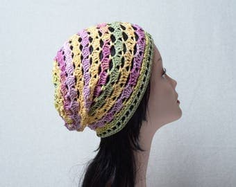 womens crochet beanie pink lilac yellow summer crochet hat cotton hat girlfriend gift for her cotton beanie cap
