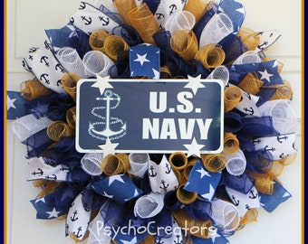 US Navy Wreath, Navy Blue Gold White Small Curly Spiral Deco Mesh Wreath, Military Wreath, 4th of July, Veterans Day