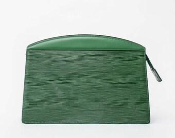 Vintage Louis Vuitton green epi leather clutch