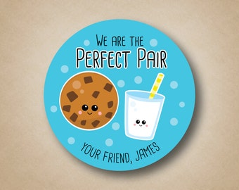 Valentines Stickers The Perfect Pair Stickers Milk and Cookies Stickers Kids Valentine Labels Kids Valentine Tags Personalized Favors