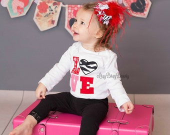 Valentines Day Baby Girls LOVE Shirt OTT Headband Outfit Feathers Zebra Pink And Red