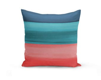 """Decorative Pillow Cover Throw Pillow Cover Coral Navy Teal Ombre Accent Pillow Cover Cushion Cover Home Decor 16"""" 18"""" 20"""" Euro Sham Cover"""