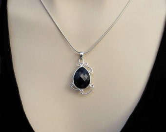 Onyx Silver Pendant, Black Onyx Necklace, Black Faceted Onyx Jewelry, Gift for Her