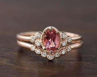 Unique pink tourmaline engagement ring antique inspired diamond wedding ring set 14k rose gold, October birthstone, ado-r103-ptou, ado-w101