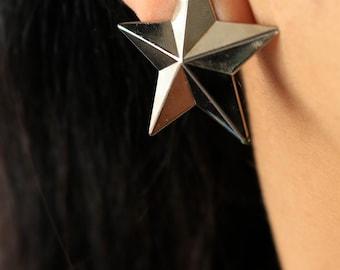 Silver Star Earrings - Star Earrings - Silver Star Stud Earrings