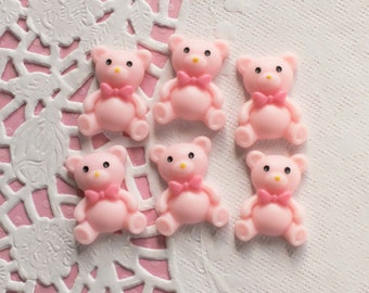 6 Pcs Pink Matte Teddy Bear Cabochons - 23x19mm