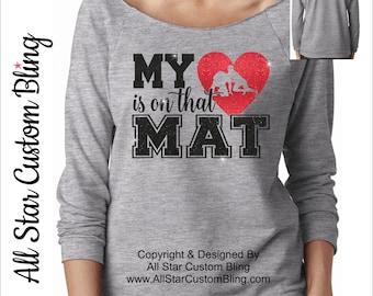 My Heart Is On That Mat Wrestling Raw Edge Terry Raglan, Wrestling Mom Shirt, Custom Wrestling Shirt, Personalized Wrestling Mom Shirt