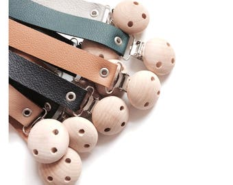 Pacifier Clips minimalist wood and leather
