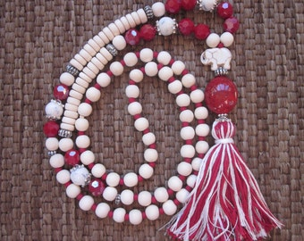 long beaded tassel necklace white wooden beads red long beaded necklace Lucky elephant mala bohemian necklace beaded necklace game day