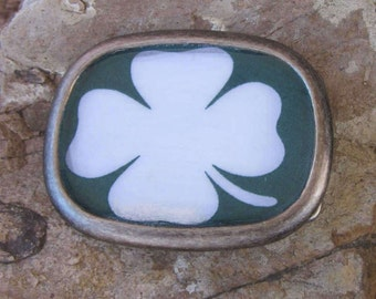 Luck of the Irish four leaf clover shamrock resin belt buckle St Patricks Day accessories