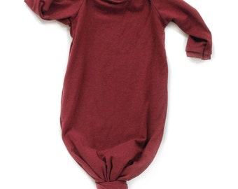 knotted sleeper, sleeping gown for babies, baby gown, baby sleeper, coming home outfit, red knotted sleeper, baby shower gift