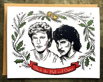 Deck the Hall and Oates Card/Merry Christmas/Holiday Card/Linocut