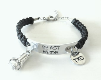 BEAST MODE Boxing Knock Out Charm Hand Stamped Bracelet Martial Arts Kickboxing Fitness Fighting You Choose Your Cord Color