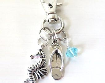 Beach Lovers Sea Horse Flip Flop Zipper Pull Beach Bag Tote Bag Purse Book Bag Key Chain Accessory