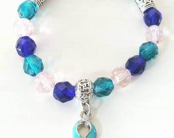 Thyroid Cancer Disease Hashimotos Graves Lupus Hypothyroid Hyperthyroid Awareness Ribbon Infinity Beaded Stretch Bracelet