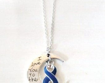 Blue Awareness I Love You To the Moon and Back Necklace You Select Chain Material and Length
