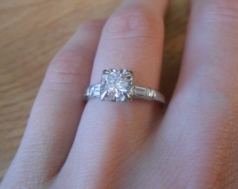 Vintage 14k White Gold 1/2ct tw Diamond Round Engagement Ring Size 4 1/2
