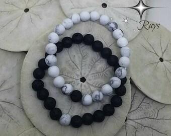 Black and White Bracelets Companion Bracelets Diffuser Bracelets Essential Oil Bracelets Couple Bracelets His Bracelet Her Bracelet Him Her