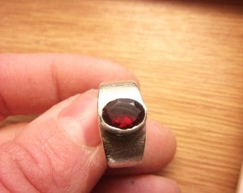 Faceted Garnet Ring Design Sterling Silver Artisan Semi Precious Gemstone Jewelry Handmade Silverwork