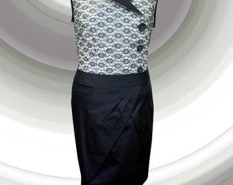 Cocktelkleider lace fabric blouse with Black Rock, Louvré. GR 40-42.