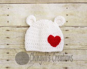 Crochet Polar Bear Hat with Heart Applique Valentines Baby Polar Bear  Hat Newborn Baby Polar Bear Hat Photo Props