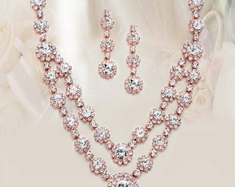 Regal Rose Gold Two Row Rhinestone Neck Set bridal necklace set