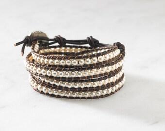 Pearl 4 Wrap Bracelet