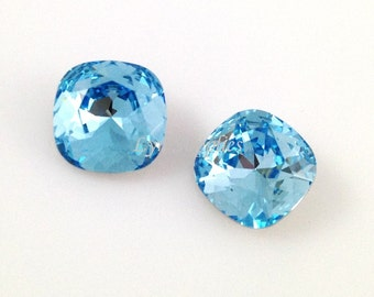 4470 AQUAMARINE 12mm Swarovski Crystal Fancy Stone Cushion Cut, Light Blue March Birthstone