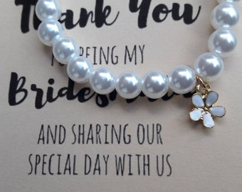 Bridesmaid bracelet flower charm pearl like stretch bracelet bridesmaid thank you note wedding thank you gift