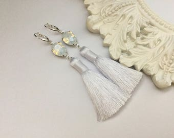 White Opal Swarovski Silk Tassel Earrings