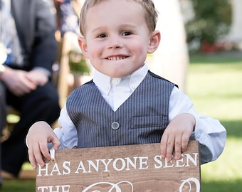 Ring Bearer Sign - Custom Wording Ring Bearer Sign - Personalized Rustic Ring Bearer Sign - Flower Girl Sign - Here Comes the Bride Sign