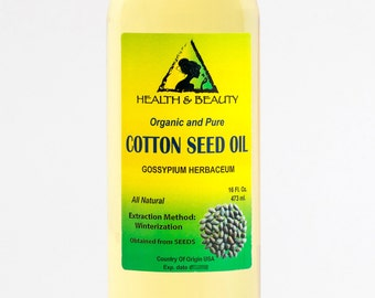 16 oz COTTON SEED OIL Organic Carrier Cold Pressed Winterized Natural 100% Pure