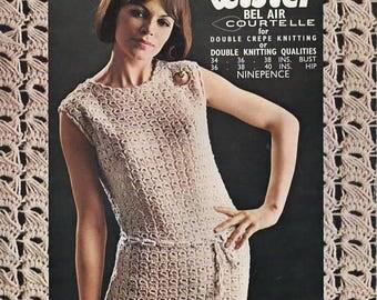 Lady's Drop Stitch Dress, Lister N1647, Original Vintage Knitting Pattern.
