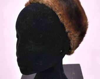 Vintage 50s Fur Halo Head Band Hat