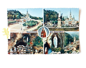 French religious, Lourdes Postcard, French Postcard, Souvenir of Lourdes, Basilica of Lourdes, Our Lady Lourdes