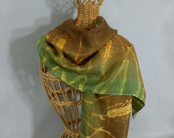 "Silk Scarf Gold, Green, and Brown ""Wheat Field"", Hand Painted Silk Scarf, Gold and Brown Scarf"