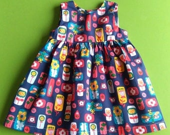 Retro Garden Baby/Toddler/Child Dress. Made to Order. Sizes 6-12 months to 5 years. TWO LEFT!