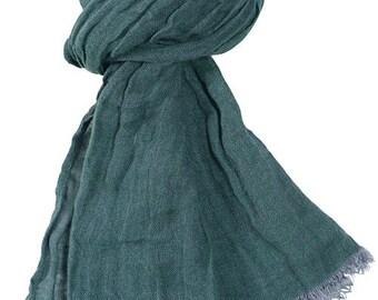 Dark green 100% linen scarf, green linen scarf, flax scarf, spring scarf, linen shawl, green shawl, linen wrap, green scarf, unisex scarf
