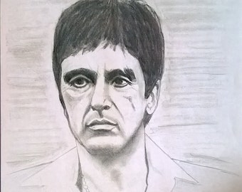 Charcoal Drawing Print, Al Pacino, Tony Montana, Scarface FREE SHIPPING