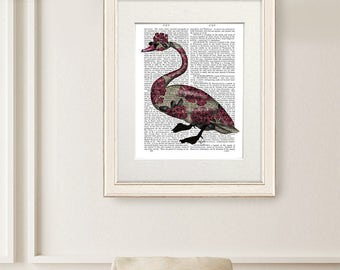 Swan Print - Azalea Swan Swan art print Swan illustration Swan painting Swan wall art Swan artwork Swan décor Swan home décor pink and black
