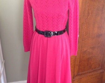 Wool Dress in Dark Pink, Pointelle, Full skirt, Stand up Collar, Warm, Belted.