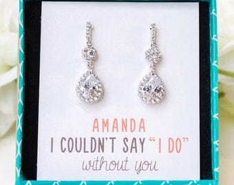 Bridesmaids Earrings Gift, Cubic Zirconia Bridesmaids Earrings  Earrings Gifts for Bridesmaids Mother of the Bride Gifts for Mom E316
