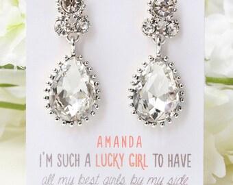 Bridesmaid Earrings Gift Bridesmaid Tear Drop Earrings Bridesmaid Gifts Silver Pear Shape Cubic Zirconia Earrings Bridal Gift E299S